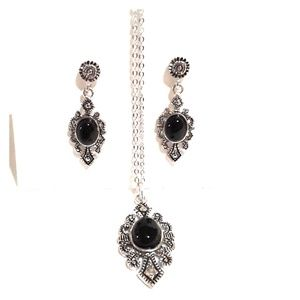 Silver tone Black & Silver necklace and earrings